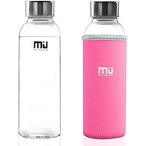 Miu Color® - Bottiglia dell'acqua da viaggio, con custodia in nylon