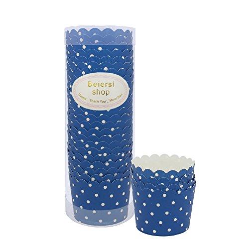 Beiersi 24 Stück Wellenpunkt Papier Kuchen Tasse Cupcake Fällen Liner Muffin Küche Backen Hochzeit Party Kuchen Backen Baking Cup (Blau)