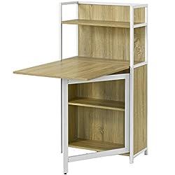 SoBuy® Mesa multimedia con puertas con varios estantes y compartimentos, mesa de ordenador, mesa plegable, mesa de cocina, mesa de comedor, FWT12-N, ES