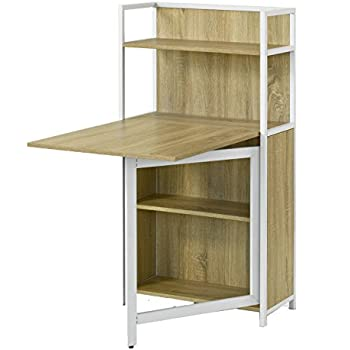 Sobuy home office 4 tiers bookcase storage shelves with - Table escamotable balcon ...