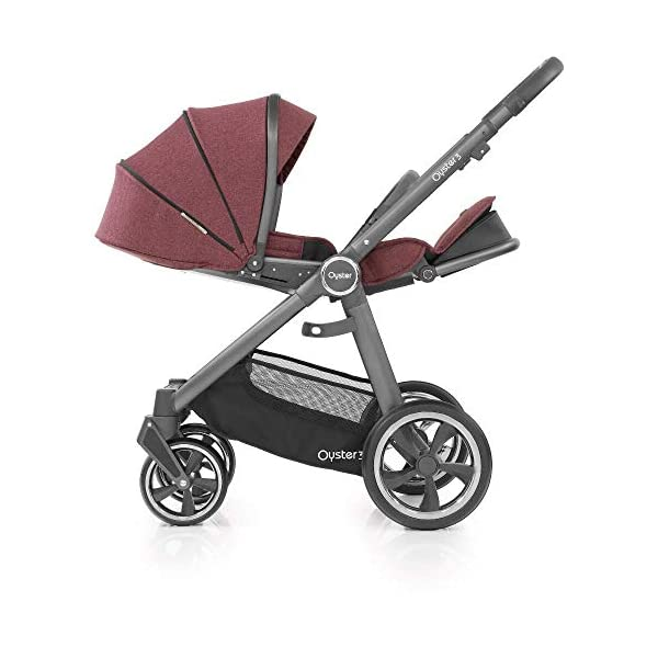 Babystyle Oyster 3 Pushchair in Berry with City Grey Chassis & Raincover Babystyle Multi position, lie-flat seat unit (rear or forward facing) from birth. Lightweight chassis and telescopic handle design with 4 adjustable positions. Swivel front wheels with one click locking mechanism. 6