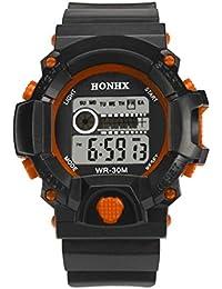 vovotrade Mens LED Digital reloj alarma de fecha de goma impermeable de deportes wristwatc ejército naranja