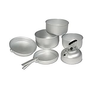 Military Grade Lightweight Portable CAMPING COOK SET with KETTLE - Aluminium Outdoor Cookwear Cooking Kit by Military
