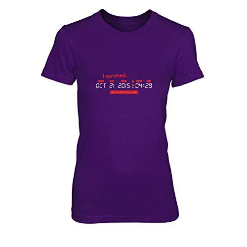 BTTF: I Survived Destination Time - Damen T-Shirt, Größe: XL, Farbe: lila