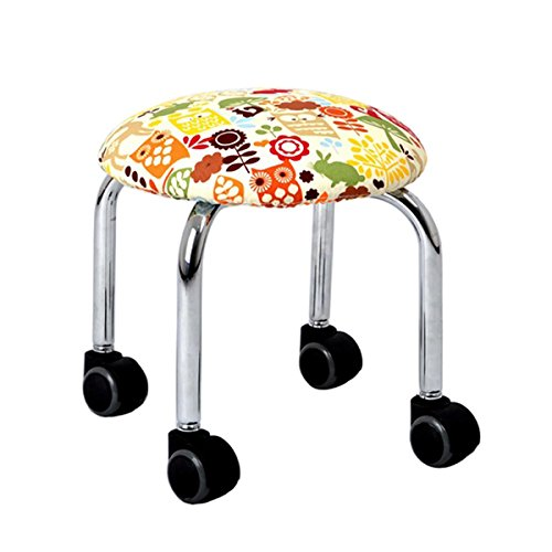 Heruai Pulley Stool Fashion Pu Cloth Sets Change Shoe Stool Learning Chair Pulley Small Stool Low Stool Round Home Child Adult Sitting Stool Moveable Pattern Cushion 41QPGtpHbHL