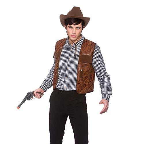 Kostüm Für Erwachsene Cowboy - COWBOY WAISTCOAT BROWN - ONE SIZE