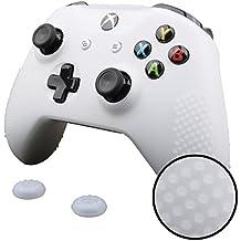 Pandaren® STUDDED peau de Housses Coque silicone anti-dérapant pour Xbox One S Manette x 1 (blanc) + thumb grip poignées x 2