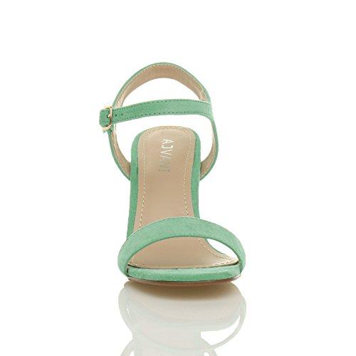 Ajvani Femmes Haute Talon Boucle Fête Élégant à Lanières Sandales Chaussures Pointure Pastel Vert Menthe Daim