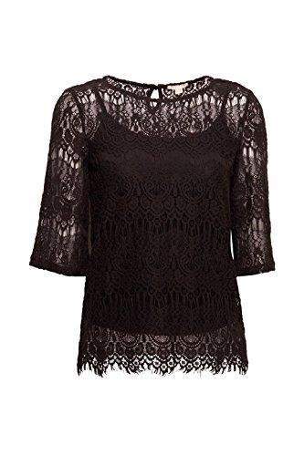 Esprit T-Shirt à Manches Longues Femme Noir (Black 001)