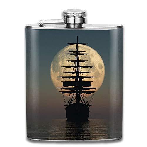 Edelstahl Flachmann,Pirate Ship Moonlight Landscape Gifts Top Shelf Flasks Stainless Steel Flask 7 OZ for Men Women
