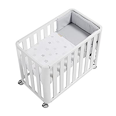 Cotinfant Doco Sleeping - Minicuna 50 x 90 cm con textil Star Gris, color blanco