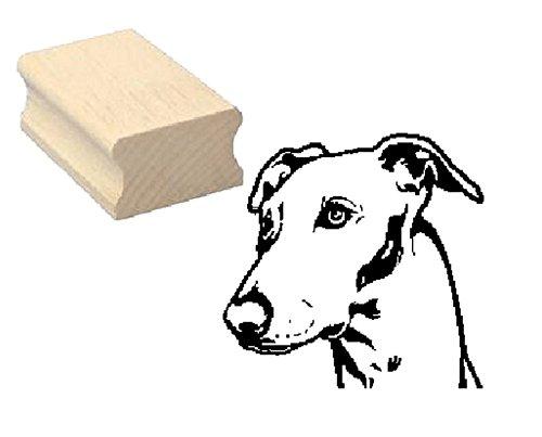 Stempel Holzstempel Motivstempel « WINDHUND KOPF » Scrapbooking - Embossing Kinderstempel Tierstempel Greyhound Whippet Hund Haustier -