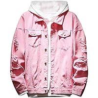 Men Jacket Home Hombres Cuello de Solapa Biker Slim Fit Ripped Jean Coat Denim Chaquetas (Color : Pink, Size : L)