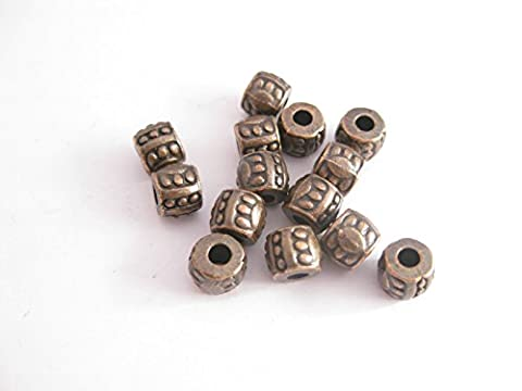 30 Tibetan Style Red Copper coloured Barrel Spacer Bead 6mm dia X 5mm. SP050