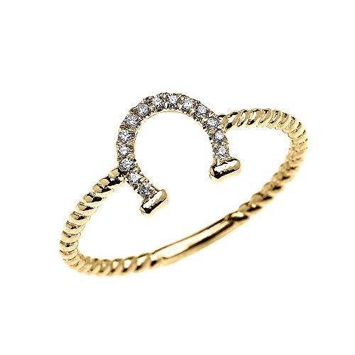 Bague Femme 10 Ct Or Jaune Diamant Fer À Cheval Bonne Chance Conception De Corde