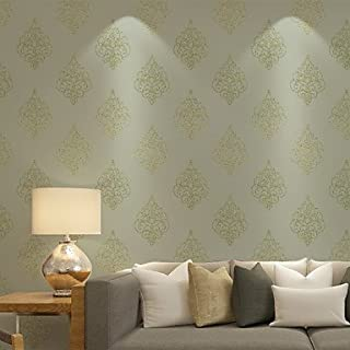 al-mullk Floral Wallpaper Contemporary Wall Covering , Non-woven Paper Continental Simple Luxury , beige