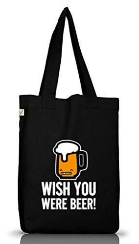 Shirtstreet24, Wish You Were Beer! Jutebeutel Stoff Tasche Earth Positive (ONE SIZE) Black