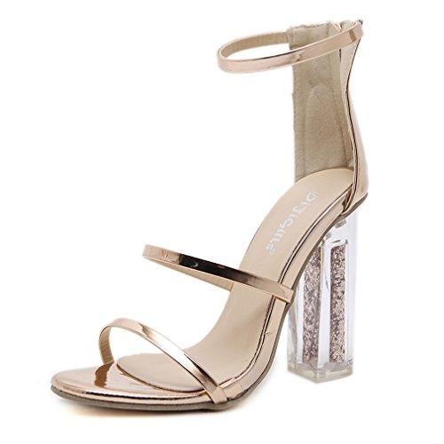 Frauen Open Toe Knöchelriemen Gold Sandalen Crystal Transparent klar Block Dicke High Heel Schuhe mit Pailletten Gold 5.