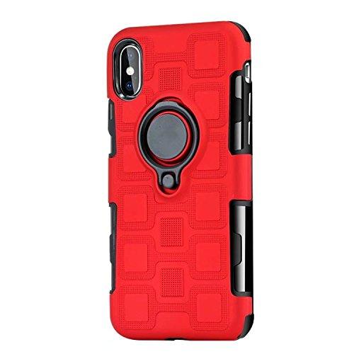 JINXIUCASE Handyhülle Fall, Armour Dual Layer 2 in 1 Schutzhülle mit drehbarem Fingerring Halter Ständer passend für magnetische Auto Halterung für iPhone X/XS (Farbe : Rot)