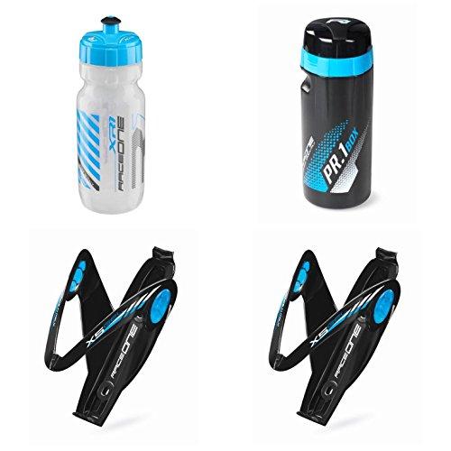 Raceone.it - KIT Race Trio X5 Gel (4 PCS): 2 Bottle Cage X5 + Bike Water Bottle XR1 + Toolbox PR1 - Wasserflaschenhalter Fahrrad Cycling/MTB/Gravel. Farbe: Schwarz/Blau 100% Made IN Italy -