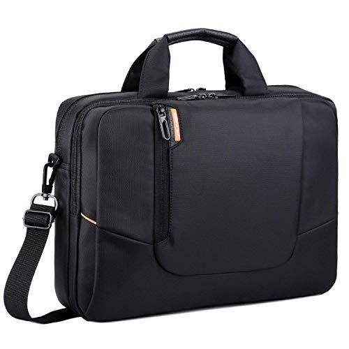 Brinch 15,6 Zoll Nylon Laptop Tasche Herren Umhängetasche Messenger Bag Aktentasche Businesstasche Arbeitstasche Schultertasche für 15-15,6 Zoll Laptop/MacBook/Notebook,Schwarz -
