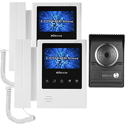 """KKmoon 4.3\"""" Mirilla Monitor, con LCD Pantalla, 2 * Monitor Interior + 1 * Cámara Exterior Impermeable, 700TVL 6 IR LED, Soporta Visión Nocturna, Intercomunicador Bidireccional, Desbloqueo"""