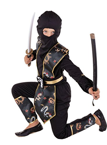 Dragon Ninja Kostüm Kinder gold-schwarz Halloween Karneval Gr. 110 bis 140, Ninja Kostüme für Kinder Jungen (110/116) (Ninja Jungen-kostüm)