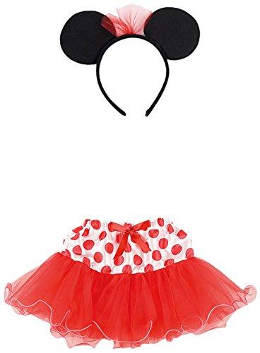 –Set Kostüm Minnie Mouse, Mädchen mit Rock und Haarreif (Minnie Kostüm Für Erwachsene)