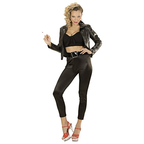 Amakando Rockabilly Damenkostüm 50er Jahre Kostüm Damen S 34/36 Rock n Roll Outfit Grease T-Birds Jacke 50s Mode Verkleidung Grease Jacket Damenjacke