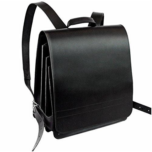 Sehr Großer Lederrucksack/Lehrerrucksack Größe XL aus Leder, für Damen und Herren, Schwarz, Modell 670