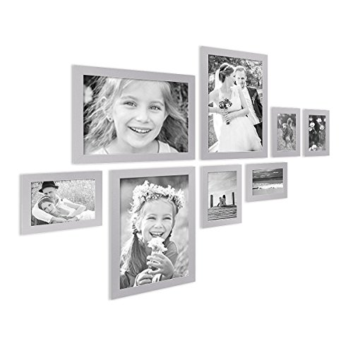 PHOTOLINI 8er Bilderrahmen-Collage Basic Collection, Modern, Silber, aus MDF, Inklusive Zubehör/Foto-Collage/Bildergalerie / Bilderrahmen-Set