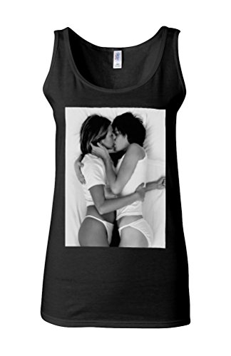 Lesbian Kiss Sexy Girls Funny Novelty White Femme Women Tricot de Corps Tank Top Vest *Noir