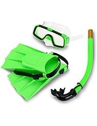 Yosoo Niños Con aletas de buceo con escafandra de silicona + Snorkel + Gafas máscara del tubo respirador de silicona conjunto para los niños (verde)