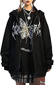 Womens Y2k Butterfly Zip Up Hoodies Rhinestone Graphic Oversized Pullovers Sweatshirt Goth jacket with Pockets