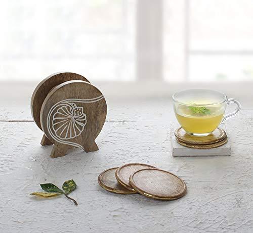 Holz Untersetzer-Set aus 5 handgefertigten Untersetzern mit dekorativem Holzhalter für Getränke Tee und Couchtisch Cocktail Coasters Ringelblumen-Kollektion zum Verschenken