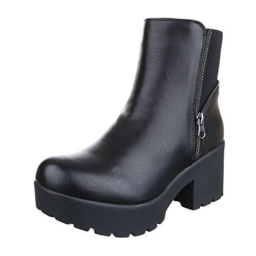 Ital-Design Boots / Bikerboots Damen Schuhe Biker Boots Blockabsatz Moderne Stiefeletten Schwarz