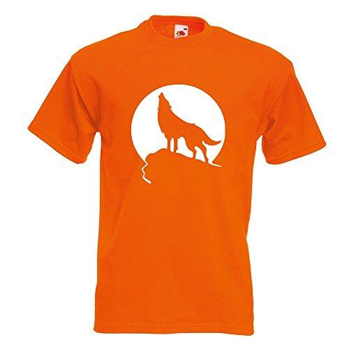 KIWISTAR - Heulender Wolf vor Mond T-Shirt in 15 verschiedenen Farben - Herren Funshirt bedruckt Design Sprüche Spruch Motive Oberteil Baumwolle Print Größe S M L XL XXL Orange