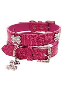 UrbanPup Bruiser's Legally Blonde Pink Leather Diamante Collar & Diamante Bone Charm