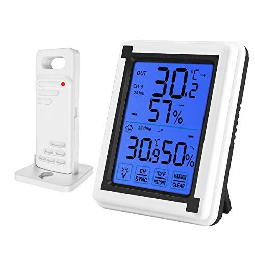 ORIA Termómetro Higrómetro Digital Exterior y Interior, Medidor de Temperatura y Humedad con Sensor...