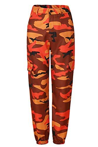 Damen Casual Hip Hop Hose Tanzhose Camouflage Bedruckte Lässige Haremshose, Orange, XXL Orange Camouflage