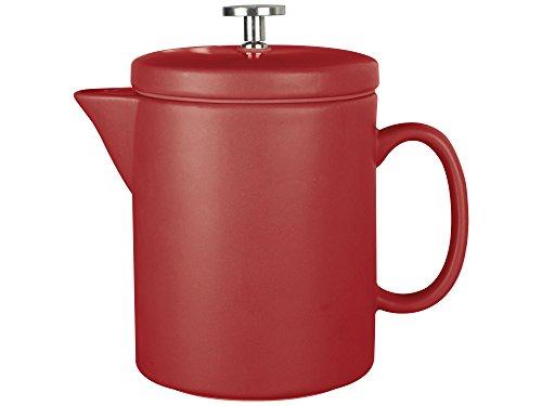 La Cafetière Barcelona Cafetière à Piston en céramique Contemporaine 900 ML (6 Tasses), Céramique, Rouge, 17.5 x 11 x 17.2 cm