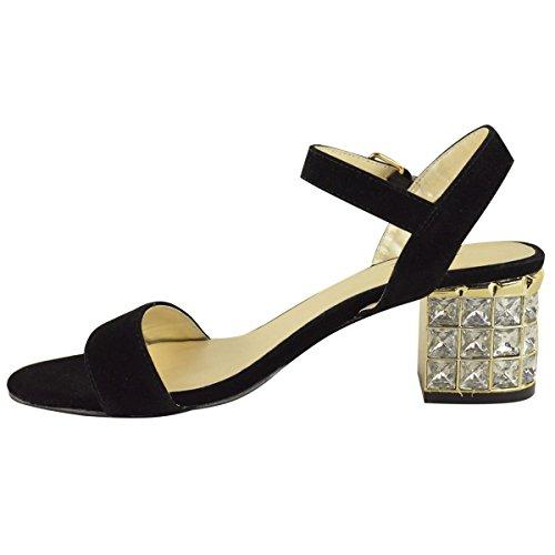 Sandali tacco alto in strass medio paragrafo caviglia cinghie party scarpe. Scamosciato Nero