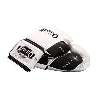 Ampro Madison MKII Velcro Sparring Gloves - White/Black (14oz)