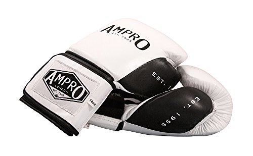 Ampro-Madison-MKII-Velcro-guantes-de-boxeo-blanconegro