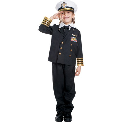 Dress Up America Kinder Navy Admiral Black ()