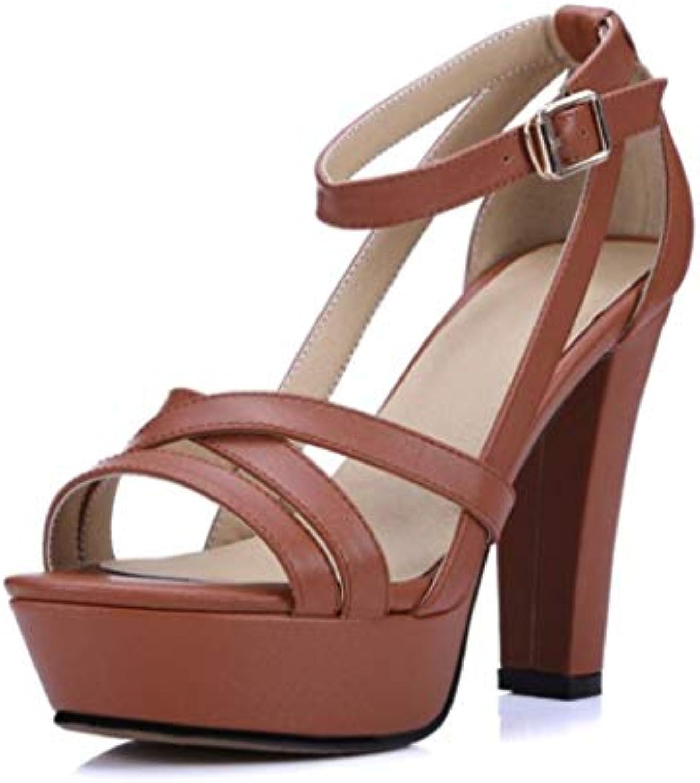 Sandali da Donna, Estivi in Pelle Piattaforma Impermeabile Tacco Alto Alto Alto Spesso Moda Tondo Tacco Scarpe in Pelle...   Di Prima Qualità  5e14c6