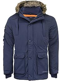 UOMO PARKA Crosshatch Giacca Felpa con cappuccio pelliccia ecologica  imbottita zip invernale foderato NUOVO b5f81600e4e