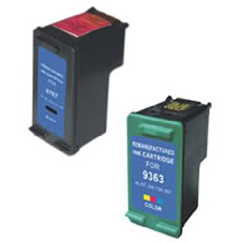 Amsahr 96(C8767WN) Remanufactured Replacement HP Ink Cartridges for Select Printers/Faxes with 1 Black and 1 Color Ink Cartridges