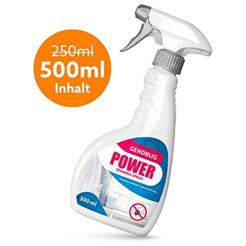 Gerobug Power Spinnenspray 500 ml zur Spinnen Bekämpfung + Effektives Anti-Spinnen-Mittel mit Sofort- u. Langzeitwirkung + Spinnen-Spray Innen & Außen + Biologisch abbaubar