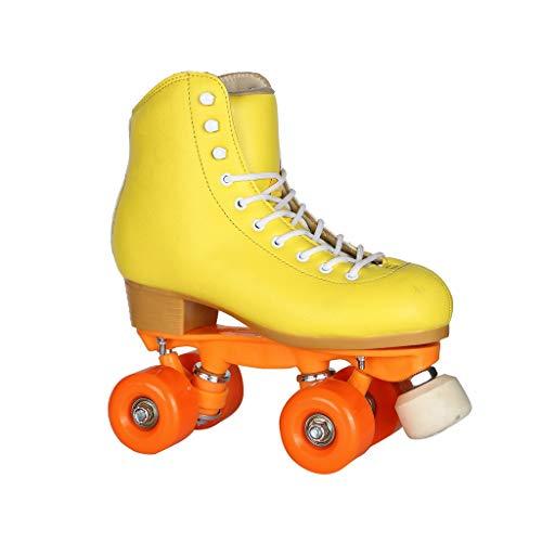 Ailj Zweireihige Schlittschuhe, Klassische High-Top-Allrad-Skates Erwachsene Jungen Und Mädchen High-End-Rollschuhe Verdickte Halterung Gelb (Farbe : Gelb, größe : 32)